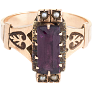 Antique Victorian Purple Stone Seed Pearl Cocktail Ring Vintage 10k Rose Gold
