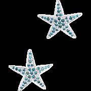 Blue Diamond Star Earrings Estate 14 Karat White Gold Fine Jewelry Pre Owned