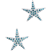 Blue Diamond Star Earrings Estate 14 Karat White Gold Fine Jewelry Pre Owned