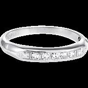 Vintage Diamond Wedding Band Ring 18 Karat Gold Palladium Estate Fine Jewelry Sz 6.5