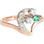 Cresent Moon Star Diamond Emerald Russian Ring Vintage 14 Karat Rose Gold Estate