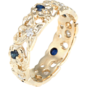 Franklin Mint c1980 Sapphire Diamond Vintage Eternity Flower Band Ring Sz 7 14 Karat Yellow Gold