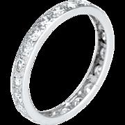 Vintage Art Deco 900 Platinum Diamond Eternity Ring Sz 7.5 Fine Estate Jewelry