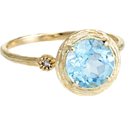 Blue Topaz Cocktail Ring Estate 14 Karat Yellow Gold Vintage Fine Jewelry Pre Owned
