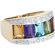 Rainbow Gemstone Diamond Cigar Band Ring Vintage 14 Karat Yellow Gold Estate