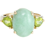 Peridot Green Jade Cocktail Ring Vintage 10 Karat Yellow Gold Estate Fine Jewelry
