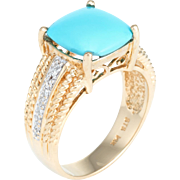 Perisan Turquoise Diamond Cocktail Ring Vintage 14 Karat Yellow Gold Estate Jewelry