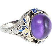 Antique Deco Amethyst Enamel Filigree Cocktail Ring Vintage 14 Karat Gold Estate