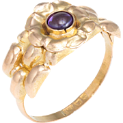 Amethyst Flower Band Ring Vintage 21 Karat Yellow Gold Estate Fine Jewelry Pre Owned