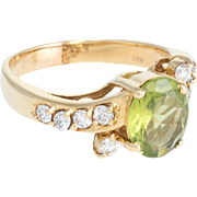 Peridot Diamond Cocktail Ring Vintage 14 Karat Yellow Gold Estate Fine Jewelry