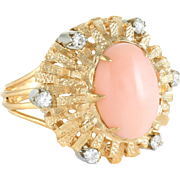 Angel Skin Coral Diamond Cocktail Ring Vintage 18 Karat Yellow Gold Estate Jewelry