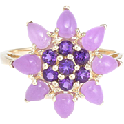 Lavender Jade Amethyst Cocktail Ring Vintage 10 Karat Yellow Gold Estate Jewelry