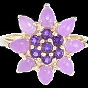 Lavender Jade Amethyst Cocktail Ring Vintage 10 Karat Yellow Gold Estate Jewelry