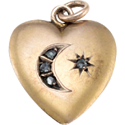 Antique Victorian Crescent Moon Star Rose Diamond Heart Pendant Charm 14k Yellow Gold
