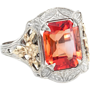 Vintage Art Deco Orange Stone Filigree Ring 14 Karat White Gold Estate Jewelry