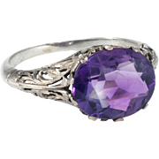 Vintage Art Deco Amethyst Filigree Cocktail Ring 14 Karat White Gold Estate Fine