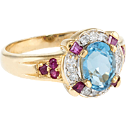Blue Topaz Ruby Diamond Cocktail Ring Vintage 10 Karat Yellow Gold Estate Jewelry