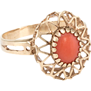 Coral Cocktail Ring Vintage 14 Karat Yellow Gold Estate Fine Jewelry Heirloom
