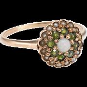Antique Victorian Daisy Ring Opal Demantoid Garnet Seed Pearl 10 Karat Rose Gold