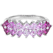 Graduated Pink Sapphire Band Ring Estate 10 Karat White Gold Fine Jewelry Pre Owned