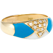 Diamond Enamel Band Ring Vintage 18 Karat Gold Estate Fine Jewelry Pre Owned 9.5