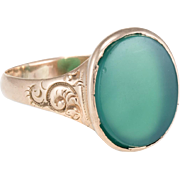 Antique Victorian Sz 13 Mens Chrysoprase Signet Ring Vintage 10 Karat Rose Gold