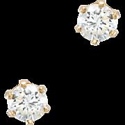 1.20ct Diamond Solitaire Stud Earrings Vintage 14 Karat Yellow Gold Estate Jewelry
