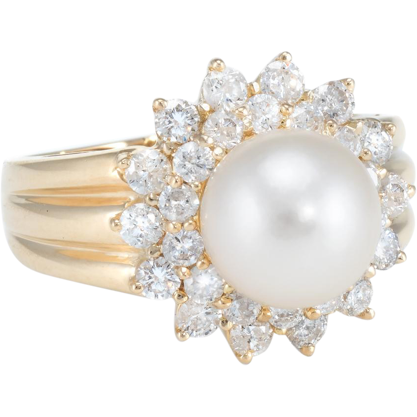 Cultured Pearl Diamond Halo Cocktail Ring Vintage 14 Karat Yellow Gold Estate Jewelry