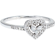 Diamond Heart Stacking Ring Estate 10 Karat White Gold Vintage Fine Jewelry Pre Owned