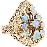 Opal Cluster Cocktail Ring Vintage 14 Karat Yellow Gold Estate Fine Jewelry Heirloom