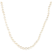 "Vintage Mikimoto Graduated Pearl Necklace 14.5"" Choker Length Estate Jewelry 925 Sterling Silver"