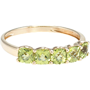5 Stone Peridot Band Ring Estate 14 Karat Yellow Gold Fine Vintage Jewelry Square Sz 9