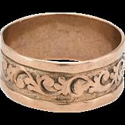 Antique Victorian Embossed 10 Karat Rose Gold Wedding Band Ring Vintage Sz 7.25