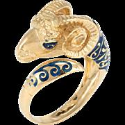 Ram Aries Ring Blue Enamel Vintage 18 Karat Gold Estate Astrology Animal Jewelry