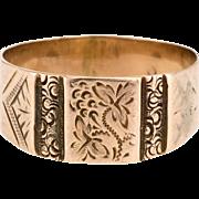 Antique Victorian Etched Wedding Band Ring Vintage 10 Karat Rose Gold Estate Jewelry