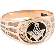 Ostby Barton Mens Masonic Lodge Ring Vintage 10 Karat Rose Gold Fraternal Jewelry