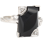 Onyx Diamond Square Cocktail Ring Vintage 10 Karat White Gold Estate Fine Jewelry