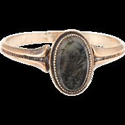 Antique Victorian Moss Agate Ring Vintage 10 Karat Rose Gold Estate Fine Heirloom