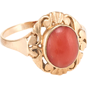 Coral Cocktail Ring Vintage 14 Karat Yellow Gold Estate Fine Jewelry Pre Owned