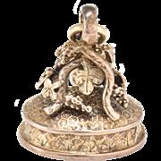 Antique Victorian Fob Charm Carnelian Intaglio Angel Crest 10 Karat Rose Gold Grape