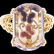 Amethyst Butterfly Enamel Ring Estate 14 Karat Yellow Gold Fine Vintage Jewelry