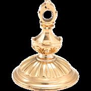 Antique Victorian Fob Pendant Carnelian Intaglio Dog Animal 14 Karat Yellow Gold Charm