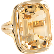 Large Citrine Cocktail Ring Vintage 14 Karat Yellow Gold Estate Jewelry Pre Owned