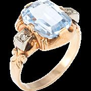 Vintage Art Deco Ostby Barton Topaz Diamond Small Cocktail Ring 10 Karat Gold