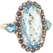 Blue Topaz Iolite Cocktail Ring Estate 14 Karat Yellow Gold Vintage Fine Jewelry