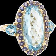 Blue Topaz Iolite Cocktail Ring Estate 14 Karat Yellow Gold Vintage Fine Jewelry