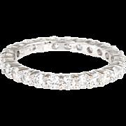 1.20ct Diamond Eternity Ring Sz 7 Estate 18 Karat White Gold Fine Vintage Jewelry