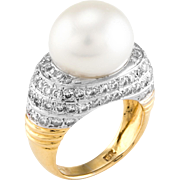 Cultured South Sea Pearl Diamond Cocktail Ring Vintage 18 Karat Yellow Gold Estate