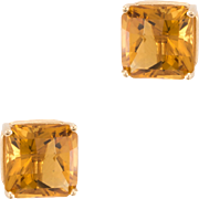 Citrine Square Stud Earrings Vintage 14 Karat Yellow Gold Estate Fine Jewelry