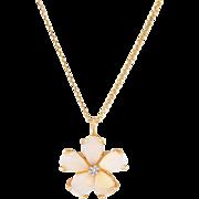 Opal Diamond Flower Pendant Necklace Vintage 14 Karat Yellow Gold Estate Jewelry